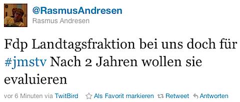 Rasmus Andresen (MdL) zur Haltung der FDP zum JMStV