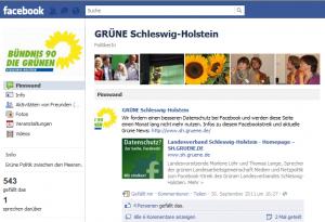Fanpage der Grünen bei Facebook (Screenshot)