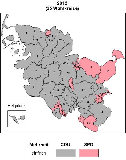 Ausriss aus dem Zusammenstellung des endgültigen Wahlergebnis der LTW 2012 des Statistischen Amtes für HH und SH