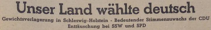 """""""Unser Land wählte deutsch"""" Kieler Nachrichten, 25.10.1948"""